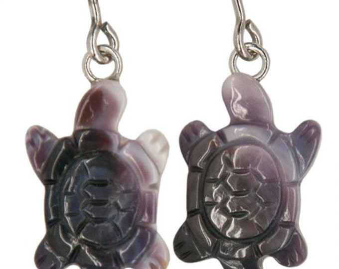 Wampum Turtle Earrings are made from genuine Quahog, a beautiful purple and cream shell affixed onto Sterling Silver fish hook ear-wires