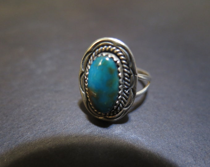 Native American Braided Elongated Royston Sterling Silver Turquoise Ring
