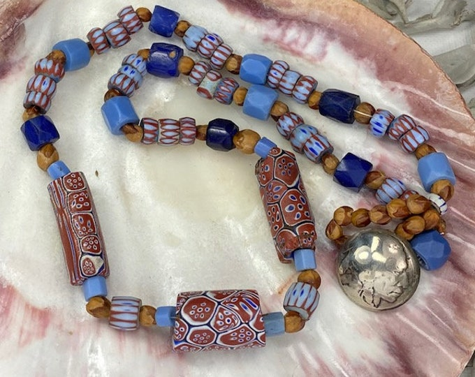 Venetian Glass Trade Beads , Bohemian Russan Blues & Ghost Bead  Necklace with Vintage Indian Head Nickel Clasp, 19""