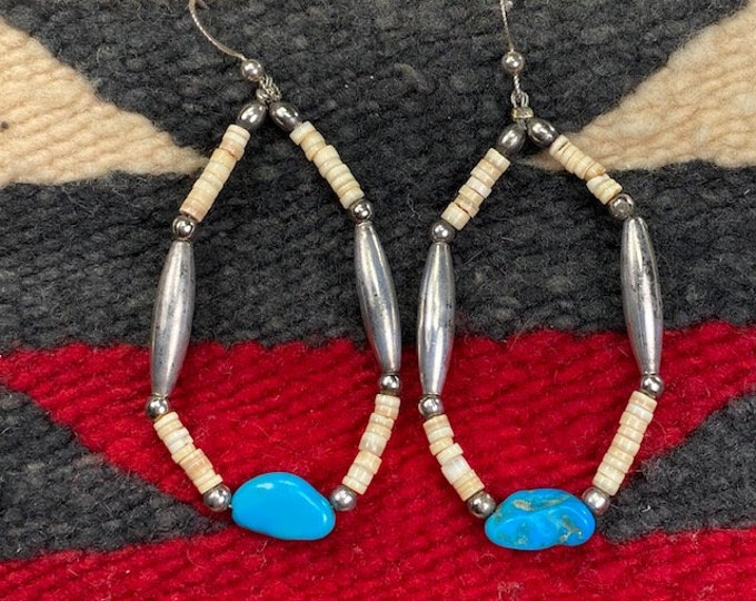 "Vintage Navajo Sterling Silver Bench Beads Turquoise Shell 3"" Dangle Earrings"