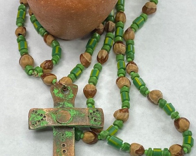 Native Made Original Necklace Ghost Juniper Berries green & yellow stripe antique trade beads made in Murano Italy in late 1800's seed beads