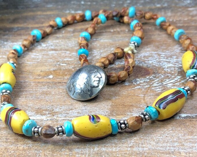 Native American Jewelry native made Necklace antique glass French Cross trade beads sterling silver beads w/Turquoise Navajo Ghost Beads.