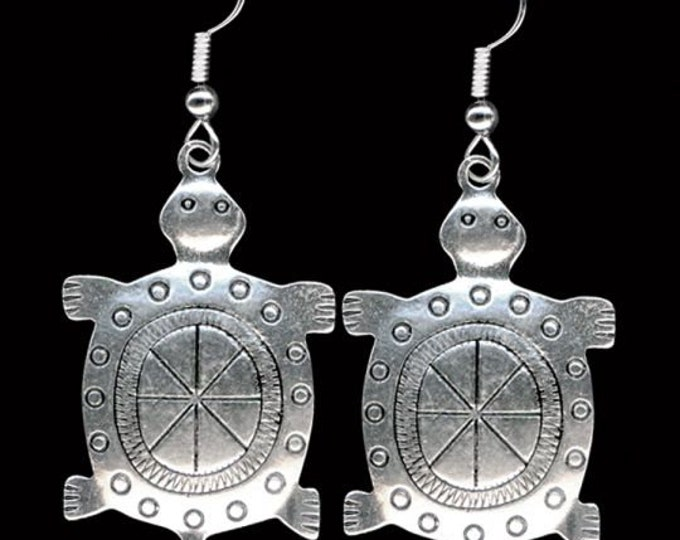 Native American Turtle is the native representation of Mother Earth,  These Pewter Turtle Earrings are attached to sterling silver ear wires