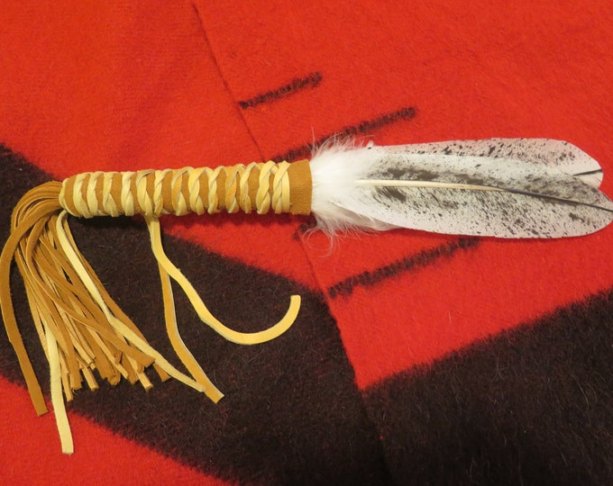 Native American Feather Fan Handcrafted Custom made Bald Eagle Prayer Feather Fan Single or Double Feathered Smudge Wand