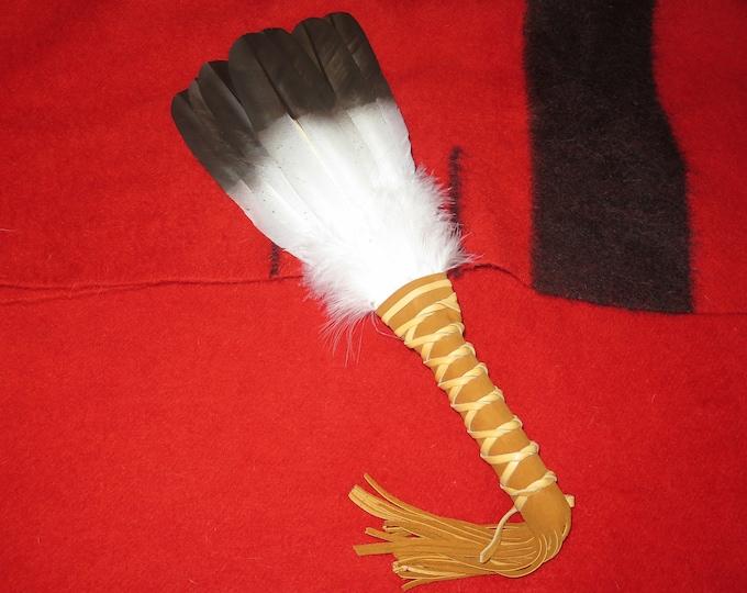 Native American Feather Custom made Golden Eagle Fan Handcrafted Spiritual HandMade Feather Medicine Prayer Smudge Fan Wand
