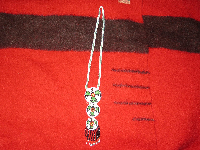 Vintage Red Thunderbird Native American Beaded Tassel Necklace