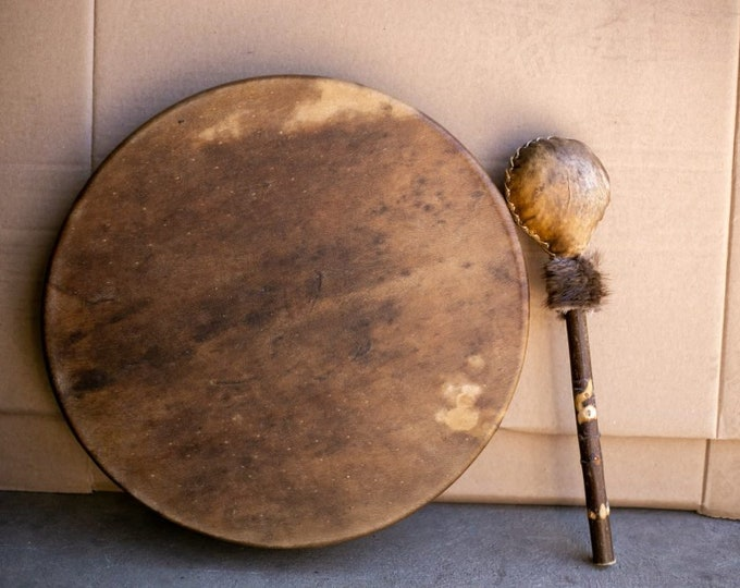 Early Native American 14″ Drum its Voice of the Distance near. (The Beaver) a Thundering Sound Journey to the Sacred Center is the Beaver