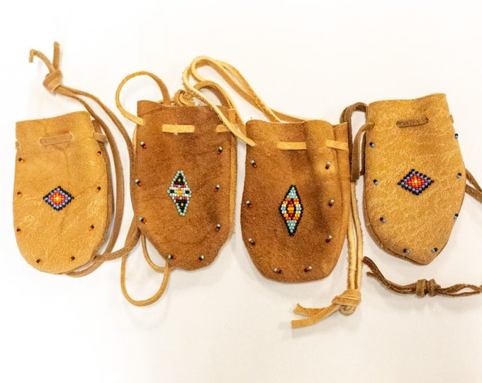 Native American Smoked Brain Tanned Leather Deer Beaded Medicine Bag sold separatly