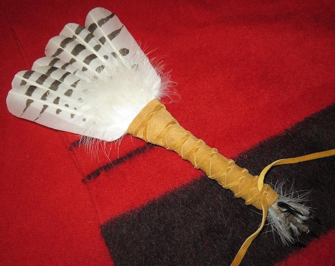 Native American Feather Smudge Fan Handcrafted custom made Snowy Owl Prayer Shaman Medicine Feather Fan w/Talon Claw Foot