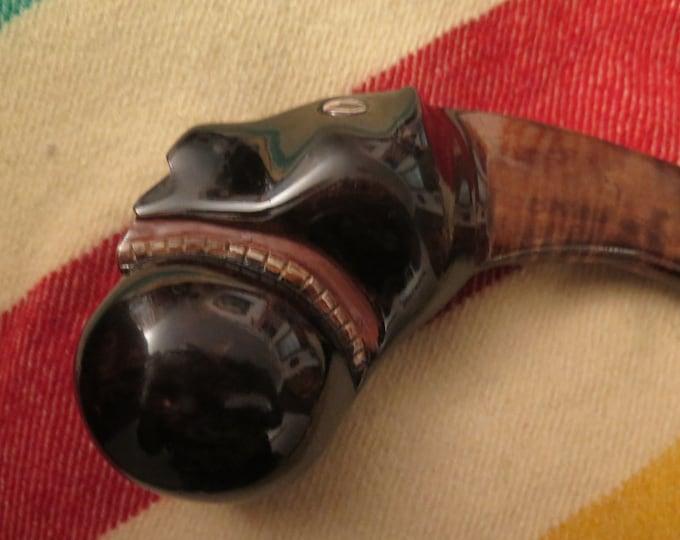 Iroquois Native American Handmade Ball Head War Club w/effigy engraving w/Display Stand Burl Cherry or Walnut Wood