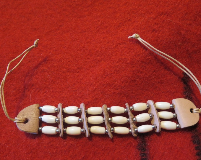 """SALE-Native American Bone Hairpipe Bracelet Wristband or arm band  1/2"""" bone hairpipe w/leather spacers & silver beads."""