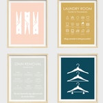 Laundry Room Prints, Set of 4, Laundry Symbols Art Print, Hangers Print, Clothes Pins, Stain Removal Guide