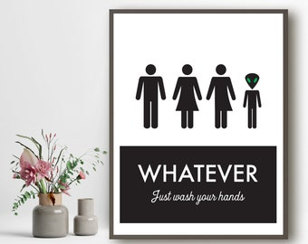 Unisex Bathroom Sign, Funny Bathroom Print, Unisex Bathroom, Family Bathroom, Transgendered Bathroom