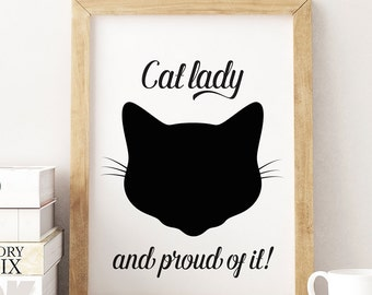 Cat Lady Print, Black Cat Print, Wall Art, Gift For Cat Lover, Crazy Cat Lady, Cat Fan, Black Cat Poster