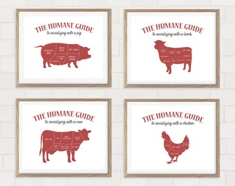 Vegan Art - Vegan Butcher Prints - Kitchen Wall Art - Vegan Prints - Gift for Vegan
