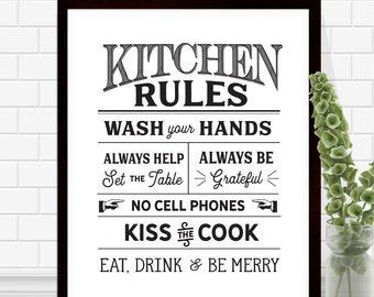 Kitchen Rules Print - Kitchen Wall Art - Kitchen Sign - Black and White -