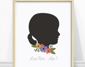 Daughter Gift - Silhouette - Personalized - Daughter Print - Silhouette Portrait