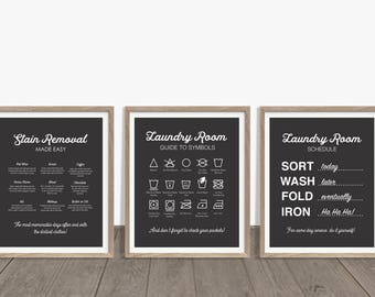 Laundry Room Art, Laundry Prints, Laundry Rules Print, Laundry Symbols, Stain Removal Guide, Laundry Schedule, Laundry Room Decor