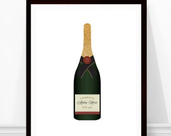 Champagne Print - Personalized Birthday Gift - Custom Wine Label - Champagne Bottle Print