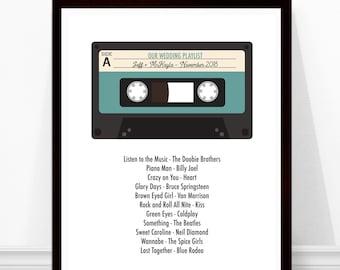Wedding Song Print - Wedding Playlist - Personalized Wedding Gift - Cassette Tape - Geek Wedding