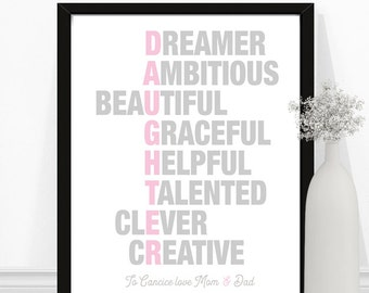 Daughter Poem, Daughter Print, Acrostic Poem, Personalized Daughter Gift, Christmas Gifts for daughter, Wall Art