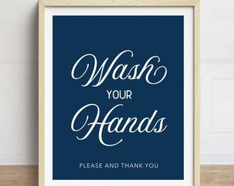 Wash your Hands Sign, Navy Bathroom Art, Bathroom Wall Art, Typography, Wash your Hands Print