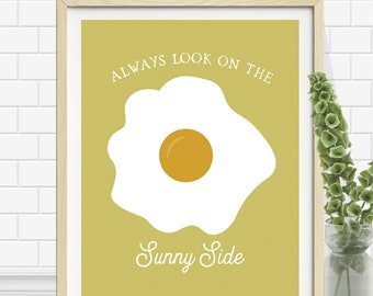 Egg Print - Kitchen Wall Art - Sunny Side - Yellow Kitchen Print - Egg Art