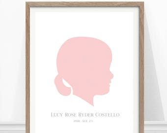 Child Silhouette , Custom Kids Portrait, Kids Silhouette Portrait, Custom Wall Art, Gift for Mother's Day