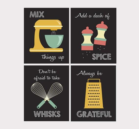 Retro cucina arte - utensili da cucina - cucina stampe - giochi di parole -  Set di quattro - metà secolo ispirato cucina Decor