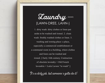 Laundry Definition Print, Laundry Room Sign, Black and White, Laundry Decor, Laundry Room Artwork