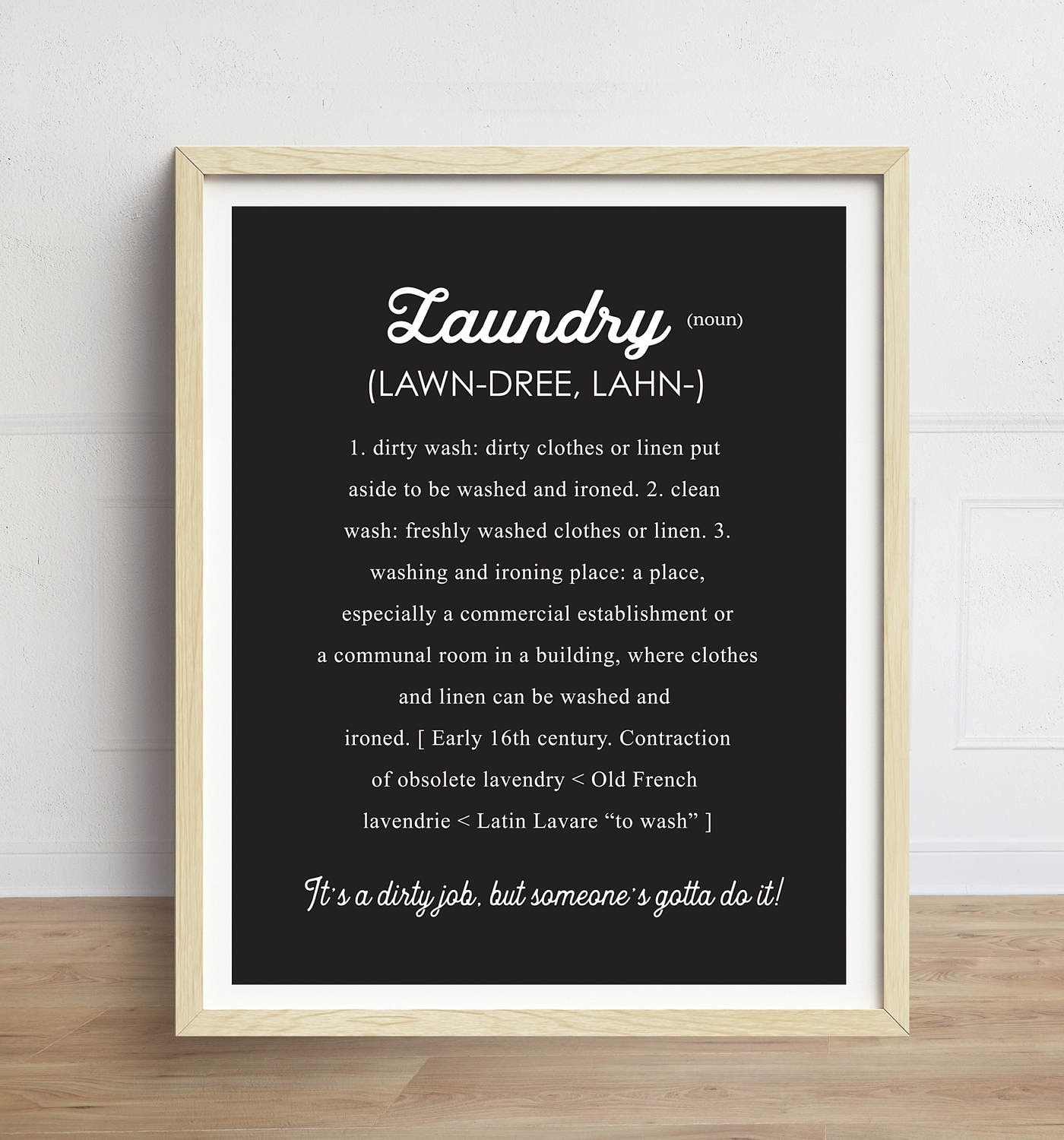 Laundry Definition Print Laundry Room Sign Black And White