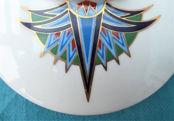 Red /& Gold Egyptian Design On The Lid ELIZABETH ARDEN Treasures of the Pharaohs Ceramic Powder  Trinket Pot With Blue Vintage 1982