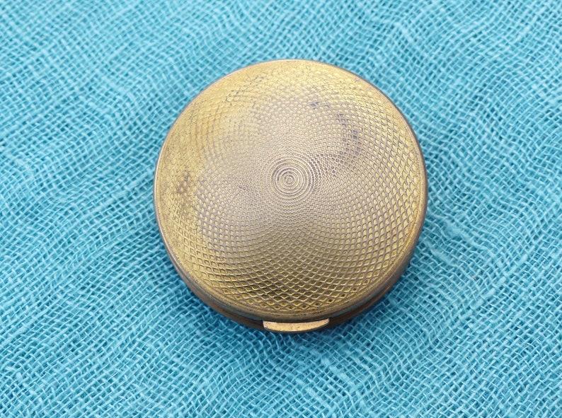 KIGU Circular Mother-of-Pearl Basket-Weave Tile Pill Box Vintage 1964