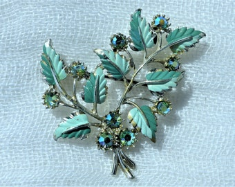 Vintage 1960s - Rhodium-plated Two-tone Turquoise Enamel Leaf Brooch with AB Diamanté Accents
