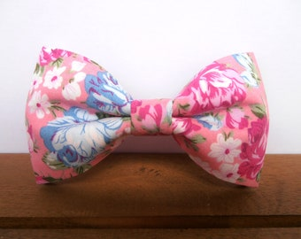 Pink bow tie with blue, pink and white flowers, Mens bow tie, Men bow tie, Pre tied bow tie, Papillon, Fliege, Bowties