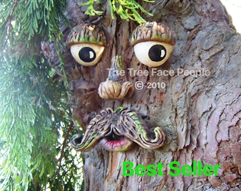Tree Face, outdoor garden sculpture, ornament, face sculpture, statue, funny faces for trees, birthday gifts, yard art whimsical people, art