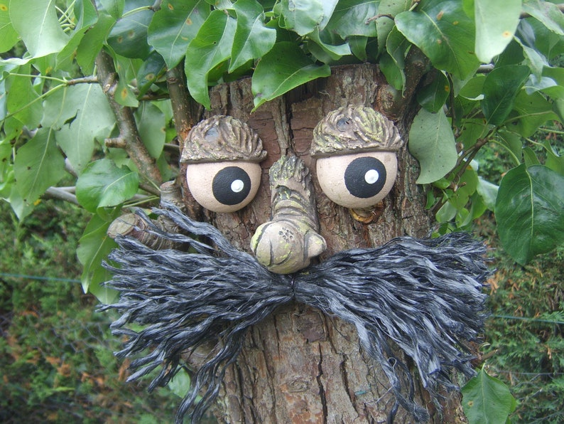 sculpture tree decoration statue Moustached TREE FACE Garden ornament gifts