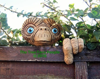 Tree Face garden decoration.  E.T outdoor sculpture, statue  yard art, alien, faces on trees gifts for man cave, unique gifts, gifts for him