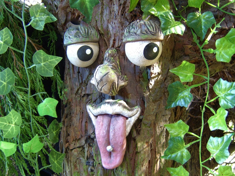 Tree Face Garden Decor Outdoor Ornaments Whimsical Funny Etsy
