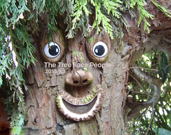 Garden decorations, tree face, outdoor ornaments, funny faces, face sculpture, yard art, gifts for gardeners, mothers day, tree decorations