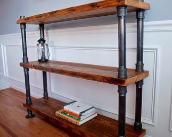 Industrial Pipe And Wood Bookshelf Reclaimed Bookcase Rustic