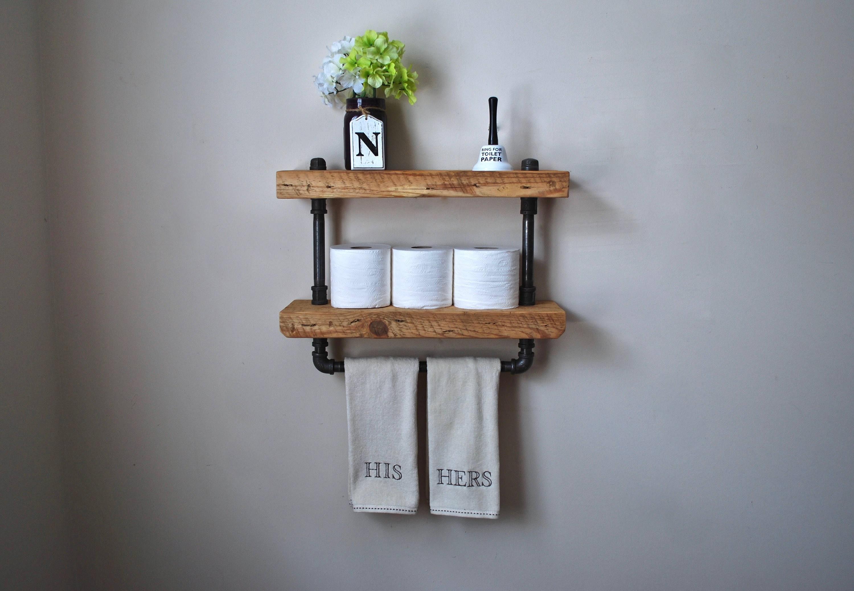 2 tier industrial bathroom shelf with towel bar etsy - 2 tier bathroom shelf with towel bar ...