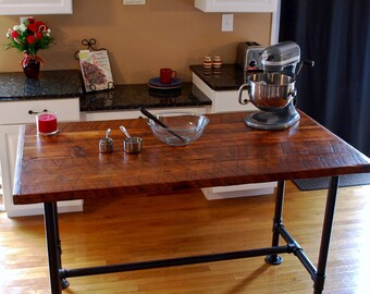 Industrial Kitchen Island, Industrial Pipe Table, Kitchen Prep Table, Modern Industrial Kitchen Island, Bar Table, Industrial Decor