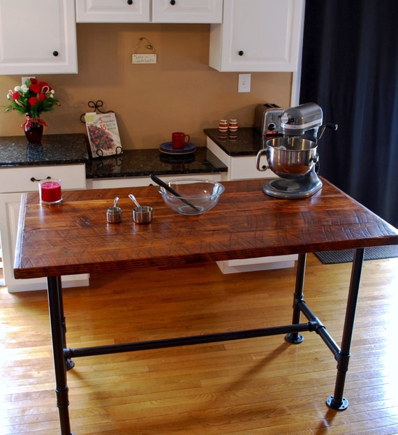 industrial kitchen island industrial pipe table kitchen prep etsy rh etsy com