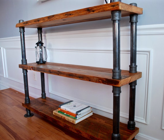 Industrial Pipe And Wood Bookshelf Reclaimed
