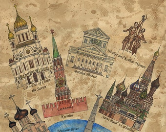 Landmarks map of Moscow,Russia, Welcome to Moscow, Instant download,Vintage image digital