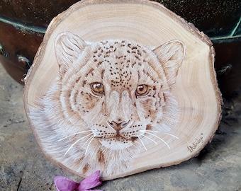 "Snow Leopard Pyrography Portrait, Handmade Wood Burned Art, 6"" diameter, Pet Portraits"