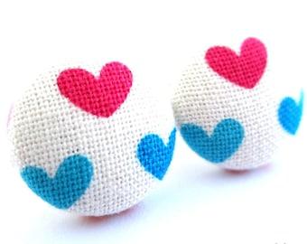 Heart earrings - Pink heart earrings - Heart earrings - Heart stud earrings - Heart posts - Heart post earrings sf1034