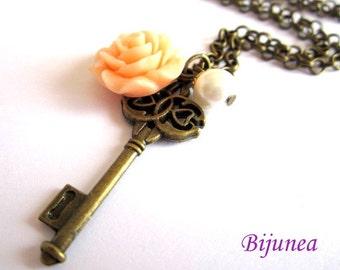 Key necklace - Romantic key necklace - Pearl key necklace - Charm key necklace - Rose key necklace n572