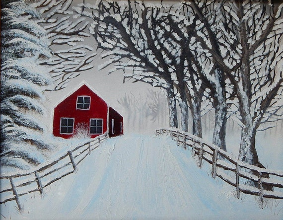 Vermont Red House In Snowy Woods Etsy